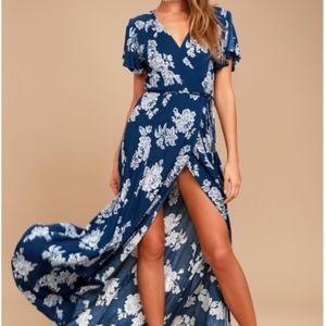 LULU'S   Heart of Marigold Blue Floral Print Dress